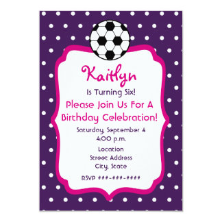 Girls Soccer Birthday Invite- Purple With Pink 5x7 Paper Invitation Card