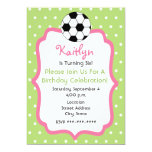 "Girl's Soccer Birthday Party Invitation 5"" X 7"" Invitation Card"