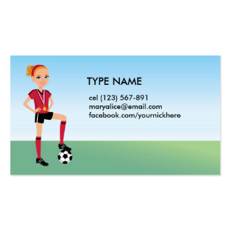 Girl's Soccer Calling Card Business Card Template