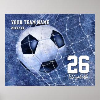 Girls' soccer commemorative team her name number poster