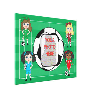 Girls Soccer customizable Photo wrapped canvas