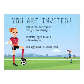 "Girl's Soccer Game Invitation with Illustration 5.5"" X 7.5"" Invitation Card"