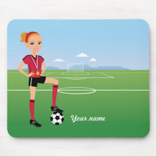 Girl's Soccer Goal Mousepad Personalized