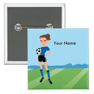 Girl's Soccer Illustrated Button