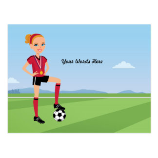 Girl's Soccer Illustrated Postcard