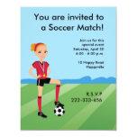 "Girl's Soccer Invitation with Illustration 4.25"" X 5.5"" Invitation Card"