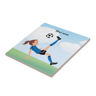 Girl's Soccer Kick Ceramic Tile