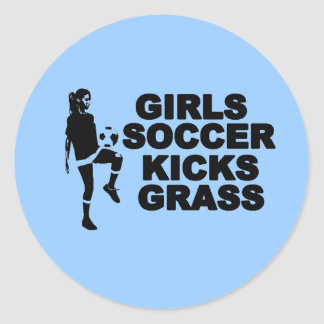 Girls Soccer Kicks Grass Classic Round Sticker