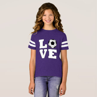 Girls Soccer LOVE Cute Soccer Player Jersey Shirt