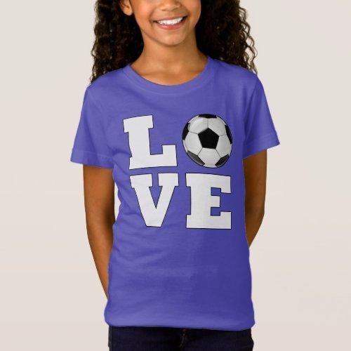 Girls Soccer LOVE Cute Soccer Player Jersey Shirt