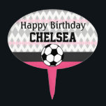 "Girl&#39;s Soccer Party Custom Birthday Cake Topper<br><div class=""desc"">Sporty soccer styling, pretty in pink! Celebrate your little superstar&#39;s special day with this soccer-themed birthday suite! Versatile for team gatherings and events, too. Easy customization! Simply replace the template text with your own details. Click the &quot;Customize It&quot; button to change fonts, add additional text, or move and re-size text...</div>"