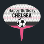 """Girl&#39;s Soccer Party Custom Birthday Cake Topper<br><div class=""""desc"""">Sporty soccer styling, pretty in pink! Celebrate your little superstar&#39;s special day with this soccer-themed birthday suite! Versatile for team gatherings and events, too. Easy customization! Simply replace the template text with your own details. Click the &quot;Customize It&quot; button to change fonts, add additional text, or move and re-size text...</div>"""