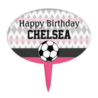 Girl's Soccer Party Custom Birthday Cake Topper