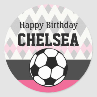 Girl's Soccer Party Custom Birthday Classic Round Sticker