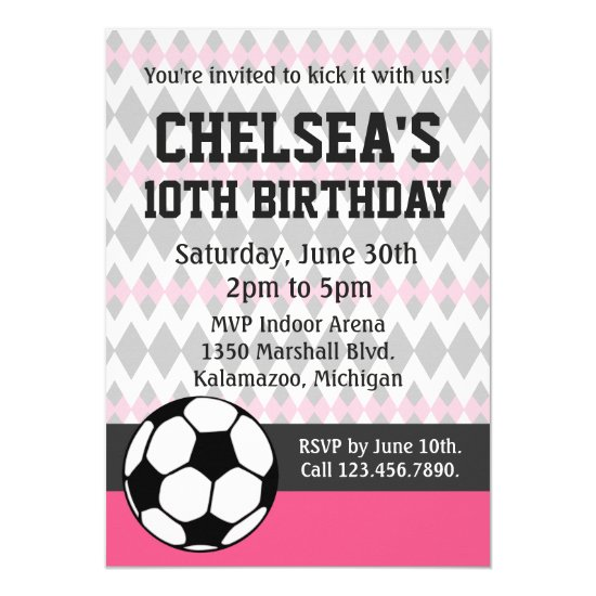 Girl's Soccer Party Custom Birthday Invitation