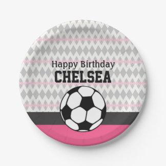 Girl's Soccer Party Custom Birthday Paper Plate
