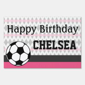 Girl's Soccer Party Custom Birthday Sign