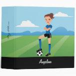 Girl's Soccer Player  Illustrated Binder