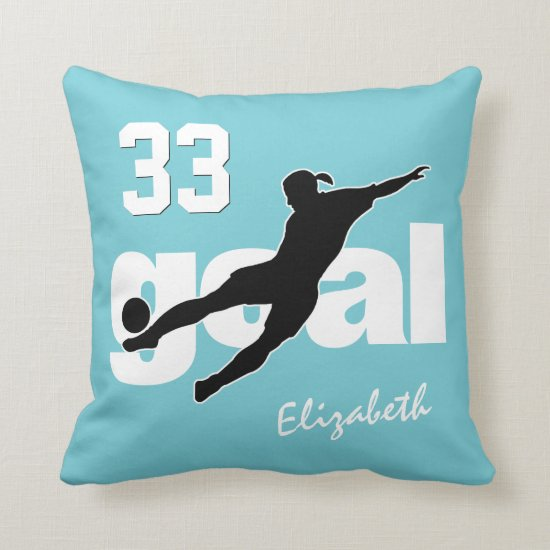 girls' soccer player kicking goal choose ANY color Throw Pillow