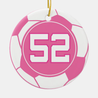 Girls soccer player number 52 gift christmas tree ornaments for Number of ornaments for christmas tree