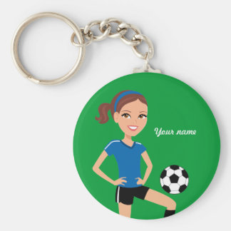Girl's Soccer Player Personalized Basic Round Button Keychain