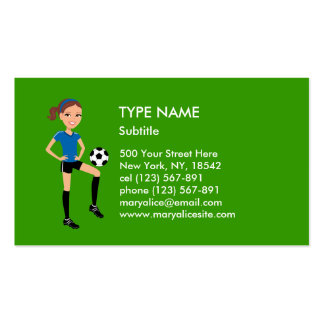 Girl's Soccer Player Personalized Double-Sided Standard Business Cards (Pack Of 100)