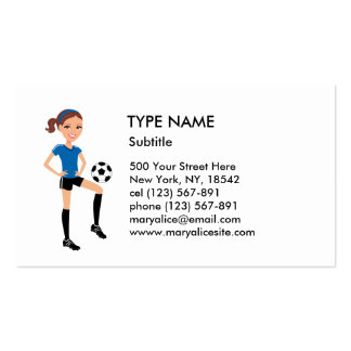 Girl's Soccer Player Personalized Business Cards