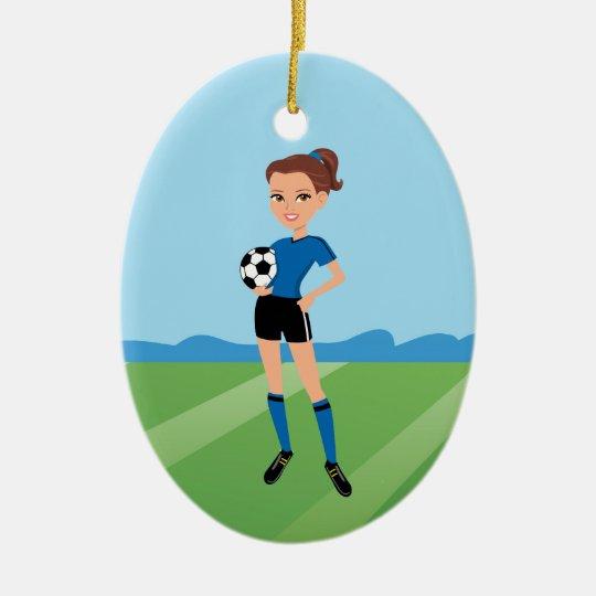 Girl's Soccer Player Personalized Ceramic Ornament