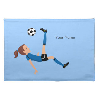Girl's Soccer Player Personalized Cloth Placemat