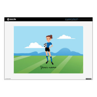 "Girl's Soccer Player Personalized Decal For 15"" Laptop"