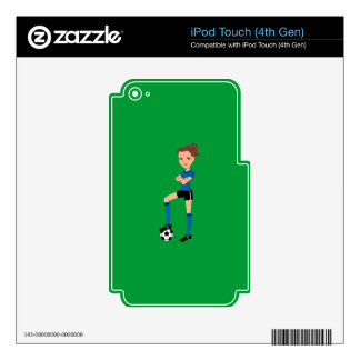 Girl's Soccer Player Personalized iPod Touch 4G Skin