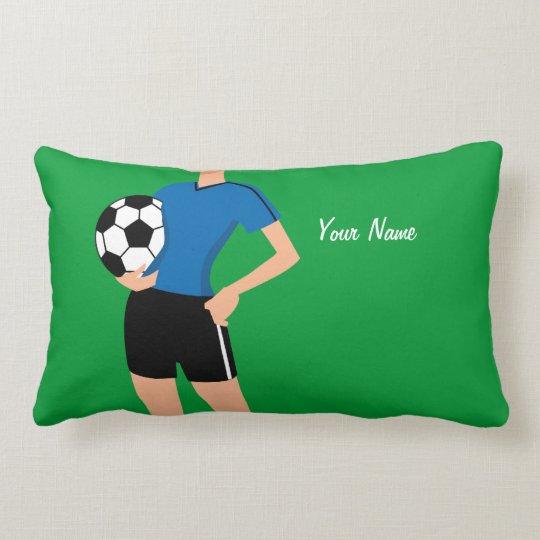 Girl's Soccer Player Personalized Lumbar Pillow