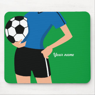 Girl's Soccer Player Personalized Mouse Pad