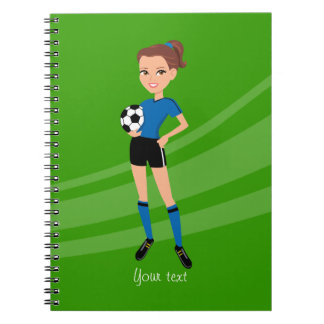 Girl's Soccer Player Personalized Spiral Note Books