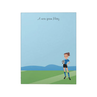Girl's Soccer Player Personalized Note Pad