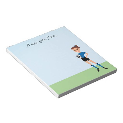 Girl's Soccer Player Personalized Notepad
