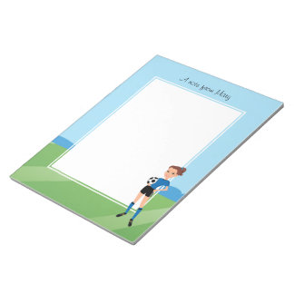 Girl's Soccer Player Personalized Memo Pad