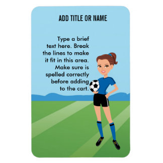 Girl's Soccer Player Personalized Flexible Magnets