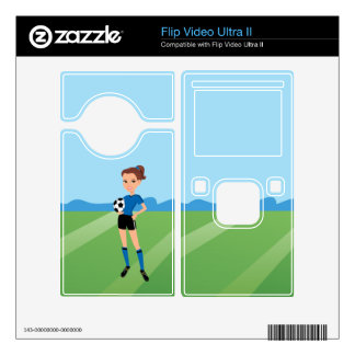 Girl's Soccer Player Personalized Flip Video Ultra II Decal