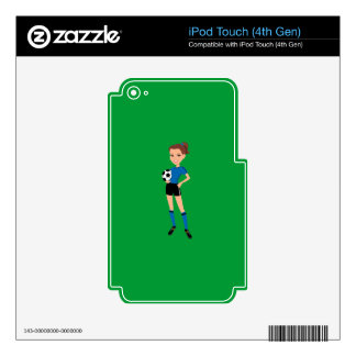 Girl's Soccer Player Personalized Decals For iPod Touch 4G