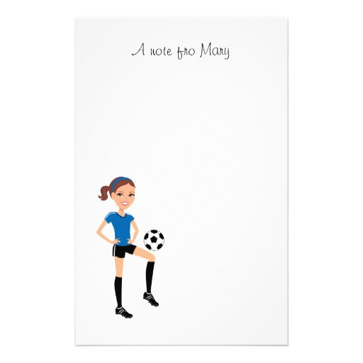Girl's Soccer Player Personalized Stationery Design