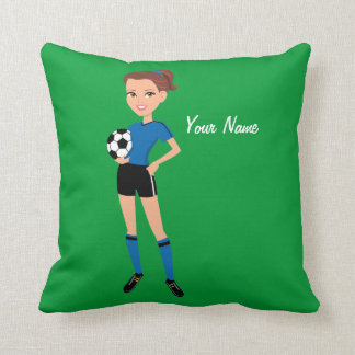 Girl's Soccer Player Personalized Throw Pillow