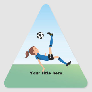 Girl's Soccer Player Personalized Triangle Sticker