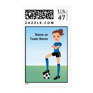 Girl's Soccer Player Postage Personalized