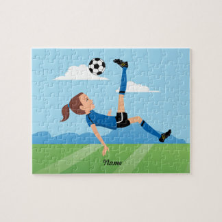 Girl's Soccer Player Puzzle with Tin