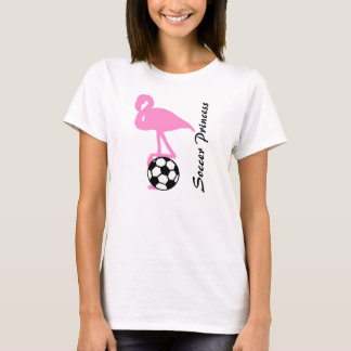 Girls Soccer Princess Pink Flamingo T-Shirt