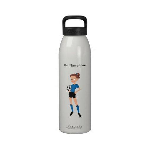 Girl's Soccer Rugged Water Bottle Illustrated