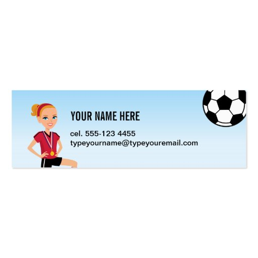Girl's Soccer Skinny Calling Card Double-Sided Mini Business Cards (Pack Of 20)