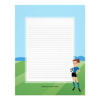 Girl's Soccer Stationery Pages for Binders