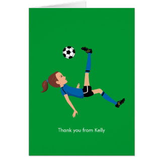 Girl's Soccer Thank You Card